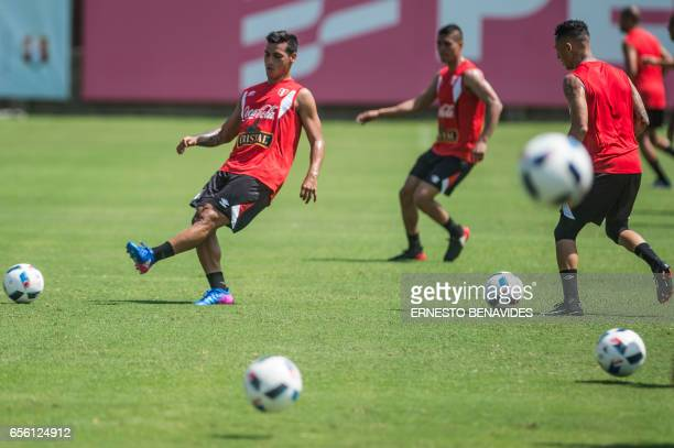 Peru's footballer Miguel Trauco takes part in a training session in Lima on March 21 2017 ahead of their World Cup qualifier matches against...