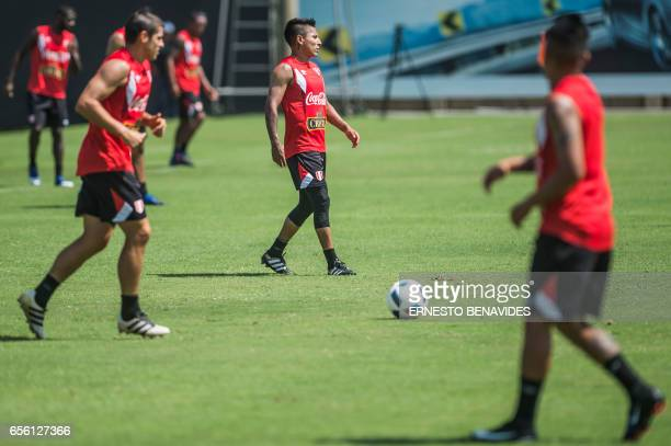 Peru's footballer Raul Ruidiaz takes part in a training session in Lima on March 21 2017 ahead of their World Cup qualifier matches against Venezuela...