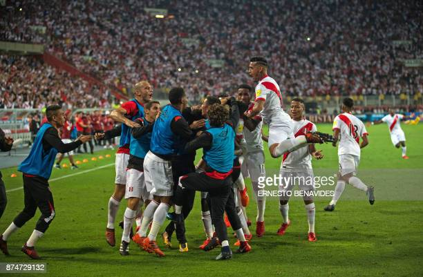 Peru's footballers elebrate after scoring against New Zealand during their 2018 World Cup qualifying playoff second leg football match in Lima Peru...