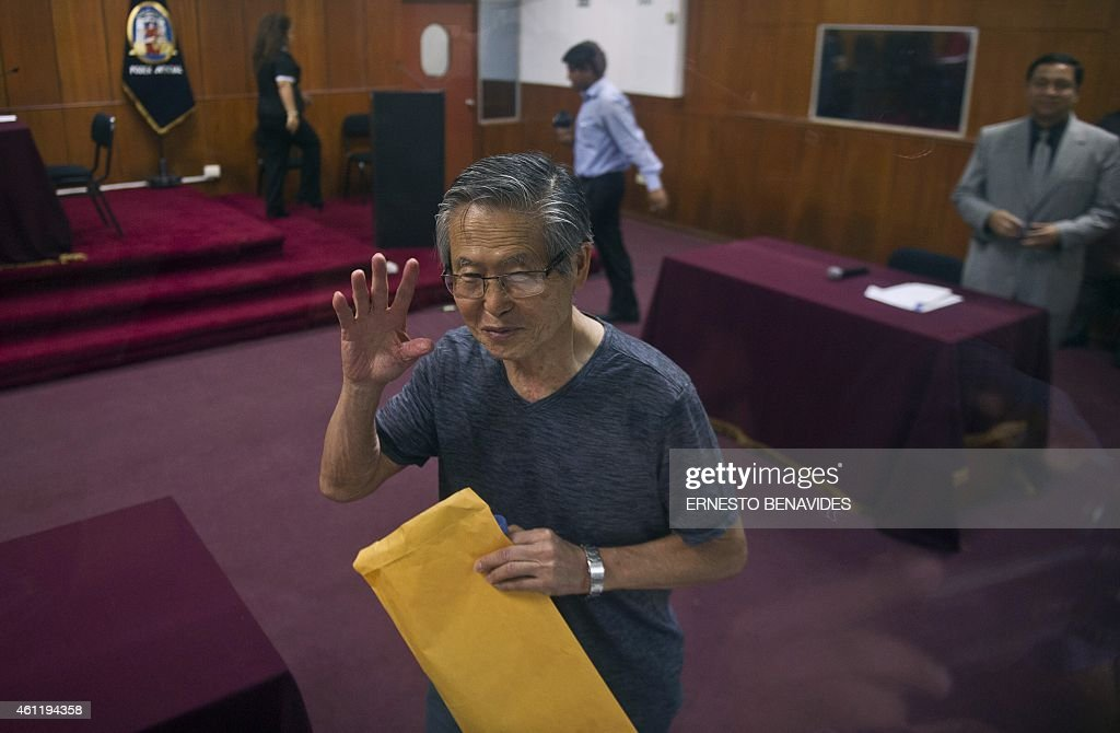 Peru's former President (1990-2000) <a gi-track='captionPersonalityLinkClicked' href=/galleries/search?phrase=Alberto+Fujimori&family=editorial&specificpeople=206244 ng-click='$event.stopPropagation()'>Alberto Fujimori</a>, arrives for the reading of the verdict on charges of embezzling state funds and using them to manipulate the media, at a police base in Lima on January 8, 2015. . The former leader is already serving a 25-year sentence over killings committed by a government-backed death squad.