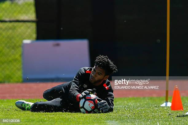 Peru's goalkeeper Pedro Gallese attends a training session at Montclair State University in New Jersey on June 14 2016 Peru will face Colombia on...