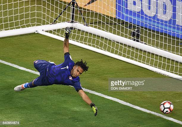 Peru's goalkeeper Pedro Gallese can't to stop penalty shot during the Copa America Centenario quarterfinal football match against Colombia in East...
