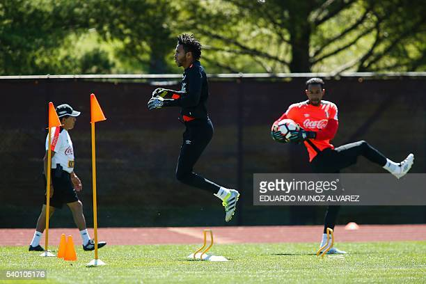 Peru's goalkeepers Pedro Gallese and Carlos Caceda attend a training session at Montclair State University in New Jersey on June 14 2016 Peru will...
