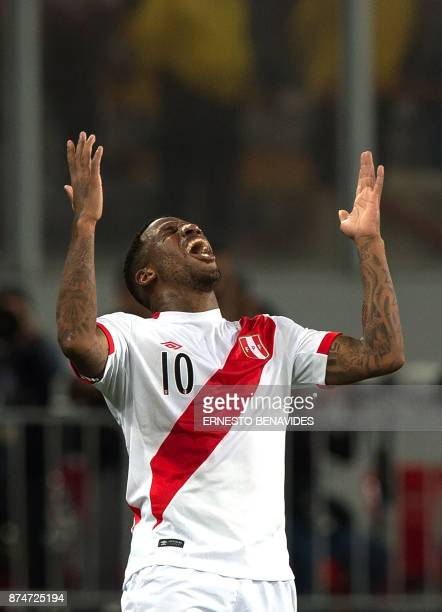 Peru's Jefferson Farfan celebrates after scoring against New Zealand during their 2018 World Cup qualifying playoff second leg football match in Lima...