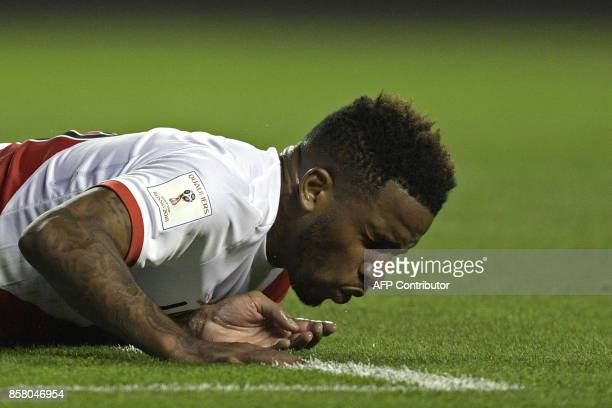 Peru's Jefferson Farfan gestures after falling during their 2018 World Cup football qualifier match against Argentina in Buenos Aires on October 5...