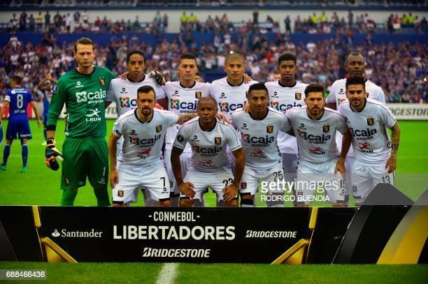 Peru's Melgar players pose before their 2017 Copa Libertadores football match against Ecuador's Emelec at George Capwell stadium in Guayaquil Ecuador...