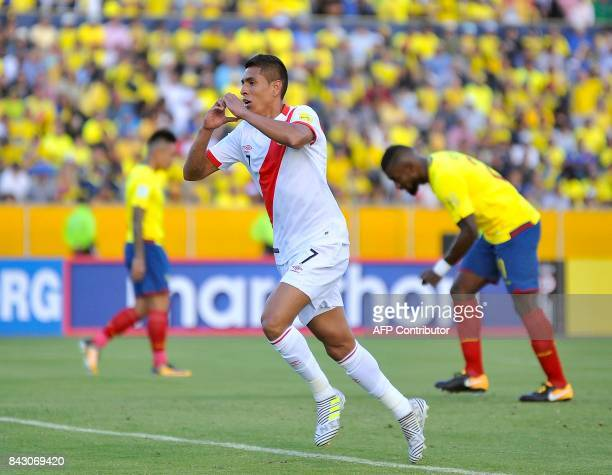 Peru's Paolo Hurtado celebrates after scoring against Ecuador during their 2018 World Cup qualifier football match in Quito on September 5 2017 / AFP...