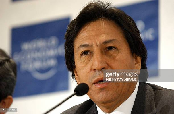 Peru's President Alejandro Toldeo addresses a news conference on the Latin America Outlook at the World Economic Forum 03 February 2002 AFP...