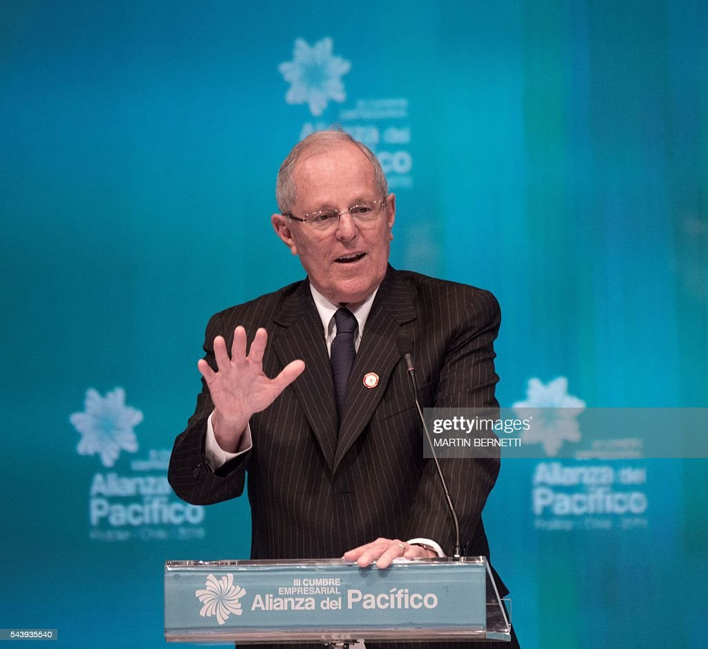 Peru's president elect Pedro Pablo Kuczynski speaks during the III Pacific Alliance Business Summit in Frutillar, 1.100 km south of Santiago, Chile, June 30,2016. / AFP / MARTIN
