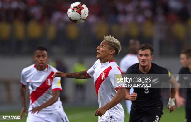 Peru's Raul Ruidiaz eyes the ball during their 2018 World Cup qualifying playoff second leg football match against New Zealand in Lima Peru on...