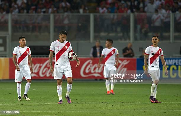 Peru's Raul Ruidiaz Paolo Guerrero Christian Cueva and Yoshimar Yotun show their dejection after Brazil sored against them during their 2018 FIFA...