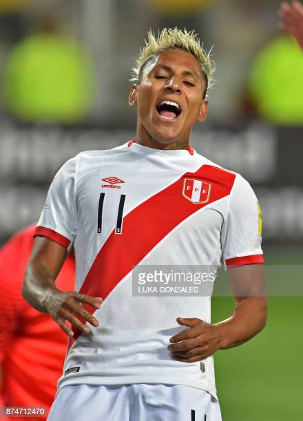 Peru's Raul Ruidiaz reacts during their 2018 World Cup qualifying playoff second leg football match against New Zealand in Lima Peru on November 15...