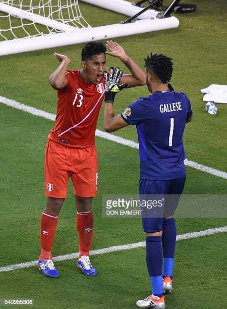 Peru's Renato Tapia celebrates with his goalkeeper Pedro Gallese after scoring a penalty during the penalty shoot out of the Copa America Centenario...