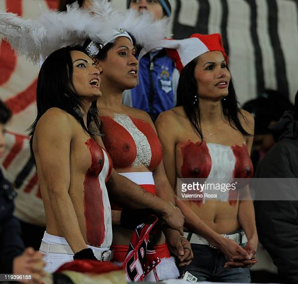 Peru's soccer fans cheer ahead during a 2011 Copa America soccer match between Uruguay and Peru as part of semifinal on July 19 2011 in La Plata...