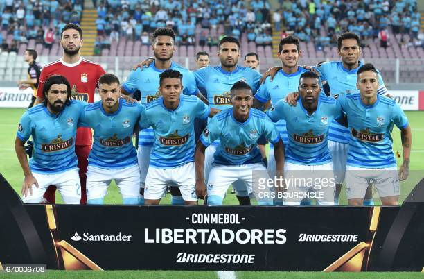 Peru's Sporting Cristal team players pose for a picture prior to their Copa Libertadores game against Bolivias Strongest at the National Stadium in...