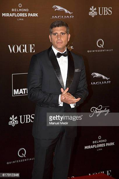 Peruvian actor Christian Meier poses during Gala MATE 2016 for the inauguration of new display spaces and exhibitions at MATE on October 22 2016 in...