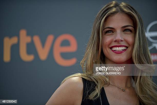 Peruvian actress Stephanie Cayo poses during a photocall of the the second edition of the IberoAmerican cinema Platino awards in Marbella on July 18...