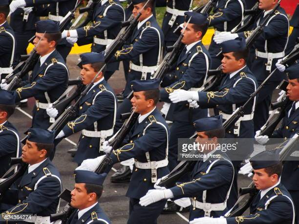 Peruvian Air Force officers marching on Military parade commemorating 196th anniversary of Peruvian independence