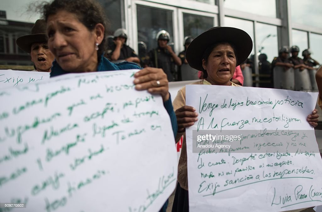 Peruvian andean women, victims of forced sterilizations during the administration of Peru's former President Alberto Fujimori, attend a protest in Lima, capital of Peru, on February 10, 2016. During the government of Alberto Fujimori, forced sterilizations were performed on thousands of women as part of the mid-1990s program of former president Alberto Fujimori who argued that a lower birth rate was crucial to eliminating poverty in Peru.