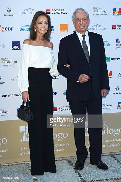 Peruvian author and Nobel Prize in Literature Mario Vargas Llosa and Isabel Preysler attend 'Prix Del Dialogo' award 2016 at Casa Monico restaurant...