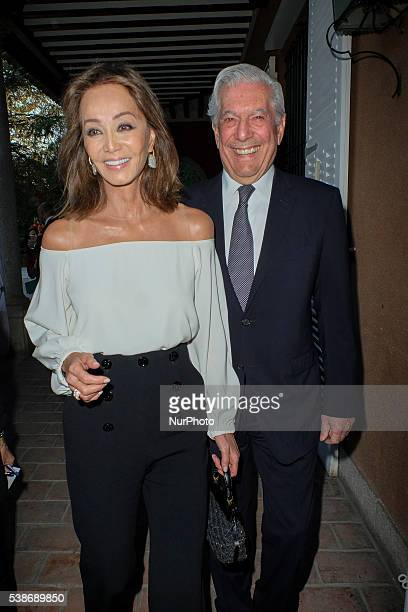 Peruvian author and Nobel Prize in Literature Mario Vargas Llosa and Isabel Preysler attend 'Prix Del Dialogo' award 2016 at Casa Monico restaurant...