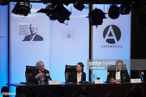 Peruvian author and Nobel Prize in Literature Mario Vargas Llosa Pilar Reyes and Turkish author and Nobel Prize in Literature Orhan Pamuk attend...