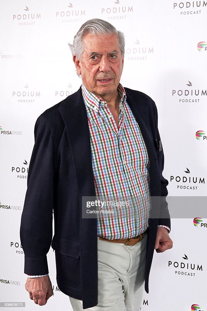Peruvian author and Nobel Prize in Literature <a gi-track='captionPersonalityLinkClicked' href=/galleries/search?phrase=Mario+Vargas+Llosa&family=editorial&specificpeople=620765 ng-click='$event.stopPropagation()'>Mario Vargas Llosa</a> attends 'Podium Podcasts' photocall at the Circulo de Bellas Artes on June 8, 2016 in Madrid, Spain.