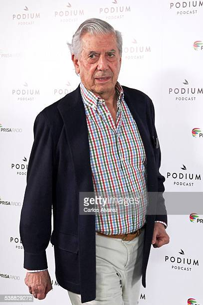 Peruvian author and Nobel Prize in Literature Mario Vargas Llosa attends 'Podium Podcasts' photocall at the Circulo de Bellas Artes on June 8 2016 in...
