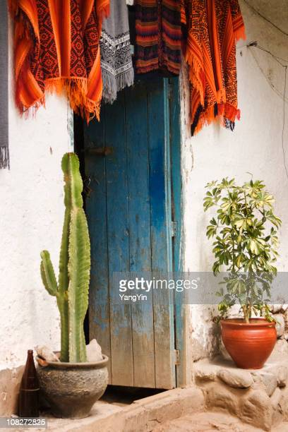 Peruvian Blue Open Door House Entance with Textiles and Plants