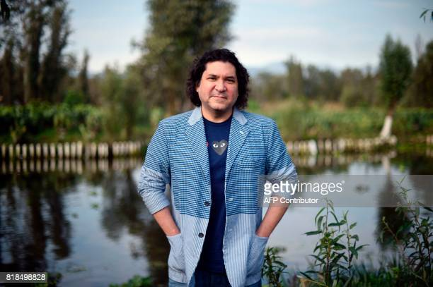 Peruvian chef Gaston Acurio poses for pictures during a symposium on biodiversity and gastronomy amid the floating gardens of Xochimilco a UNESCO...