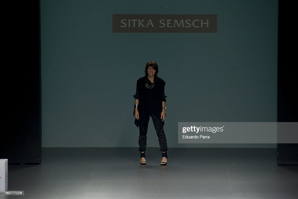 Peruvian designer Jessica Butrich greets on the runway at Jessica Butrich show during Mercedes Benz Fashion Week Madrid Spring/Summer 2014 at Ifema on September 16, 2013 in Madrid, Spain.