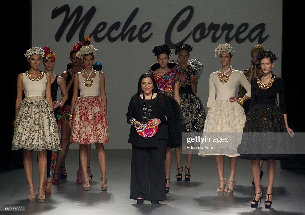 Peruvian designer Merche Correa greets on the runway at Merche Correa show during Mercedes Benz Fashion Week Madrid Spring/Summer 2014 at Ifema on September 16, 2013 in Madrid, Spain.
