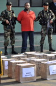 Peruvian drug dealer Jorge Cerbellon is presented to the press along with other detainees belonging to a gang of drug smugglers caught with more than...