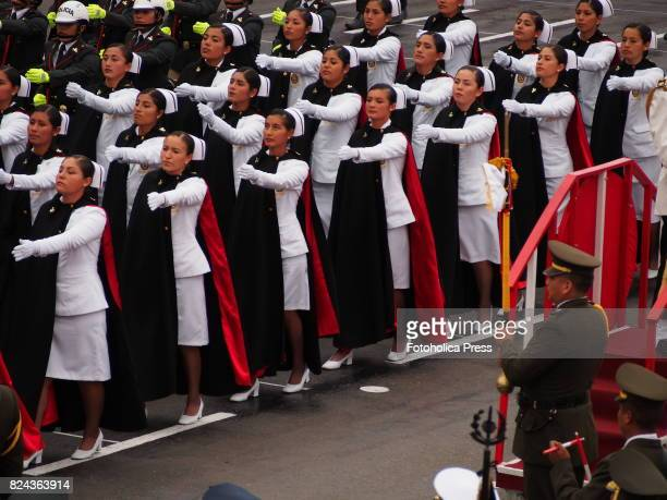 Peruvian female police nurses marching on Military parade commemorating 196th anniversary of Peruvian independence