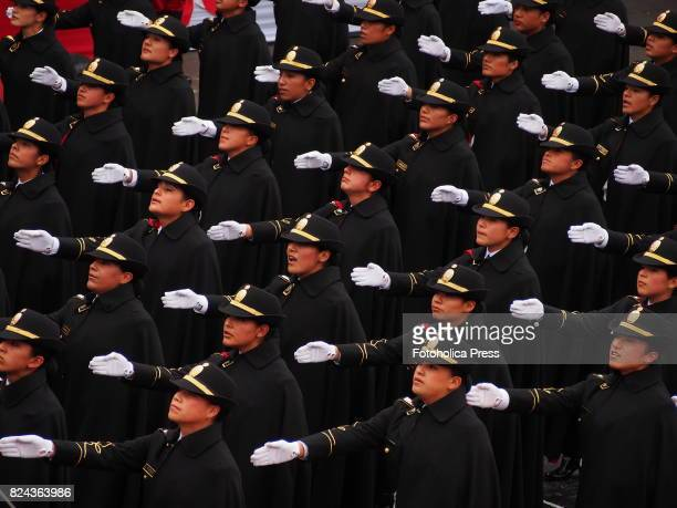 Peruvian female police officers marching on Military parade commemorating 196th anniversary of Peruvian independence
