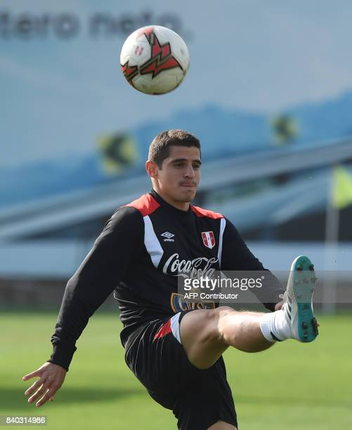 Peruvian footballer Aldo Corzo takes part in a training session in Lima on August 28 ahead of Peru's 2018 FIFA World Cup Russia South American...