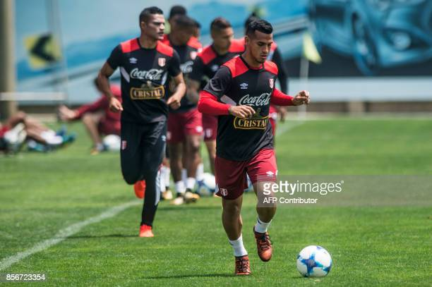 Peruvian footballer Miguel Trauco takes part in a training session in Lima on October 2 2017 ahead of their upcoming 2018 World Cup football...