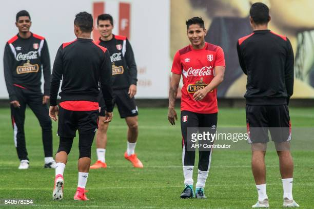 Peruvian footballer Raul Ruidiaz takes part in a training session in Lima on August 29 ahead of their FIFA World Cup qualifier football match against...