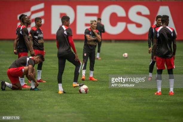 Peruvian footballer Raul Ruidiaz takes part in a training session in Lima on November 12 ahead of their 2018 World Cup qualifying playoff match...