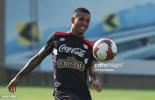 Peruvian footballer Sergio Peña takes part in a training session in Lima on August 28 ahead of Peru's 2018 FIFA World Cup Russia South American...