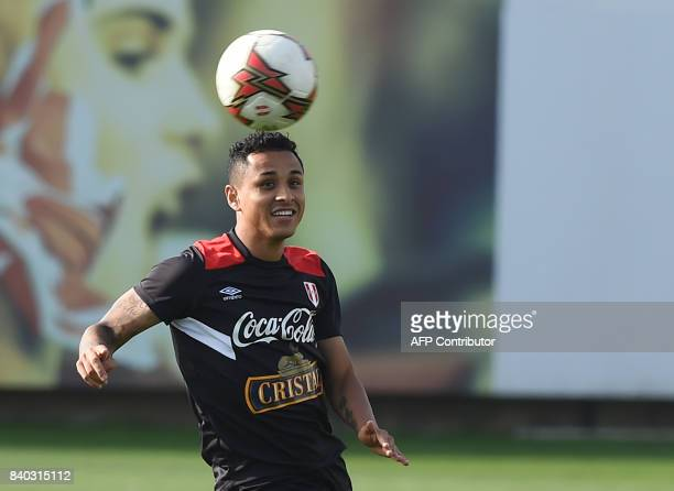 Peruvian footballer Yoshimar Yotun takes part in a training session in Lima on August 28 ahead of Peru's 2018 FIFA World Cup Russia South American...