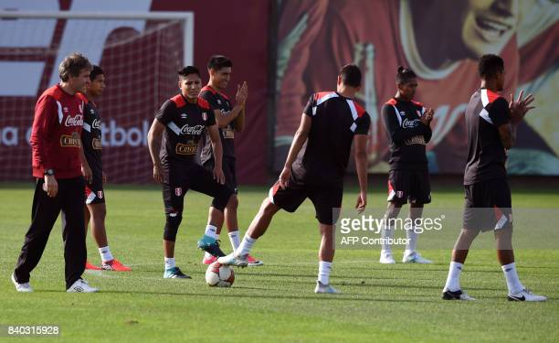 Peruvian footballers take part in a training session in Lima on August 28 ahead of Peru's 2018 FIFA World Cup Russia South American qualifier...