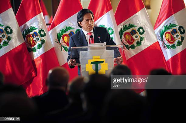 Peruvian former President Alejandro Toledo speaks during a press conference in Lima on November 10 2010 Toledo announced on Wednesday he will run for...