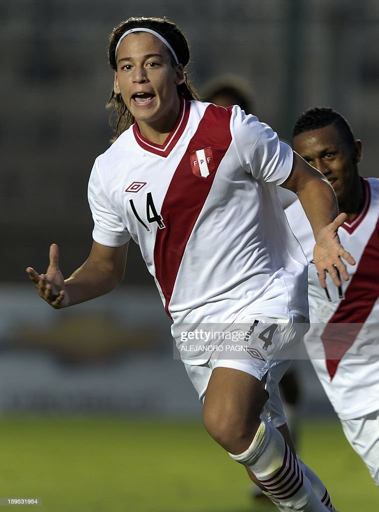 Peruvian forward Cristian Benavente celebrates after scoring a goal against Venezuela during their South American U-20 Championship Group B football match, at Bicentenario stadium in San Juan, Argentina, on January 14, 2013. Four South American teams will qualify for the FIFA U-20 World Cup Turkey 2013. Peru won by 1-0.