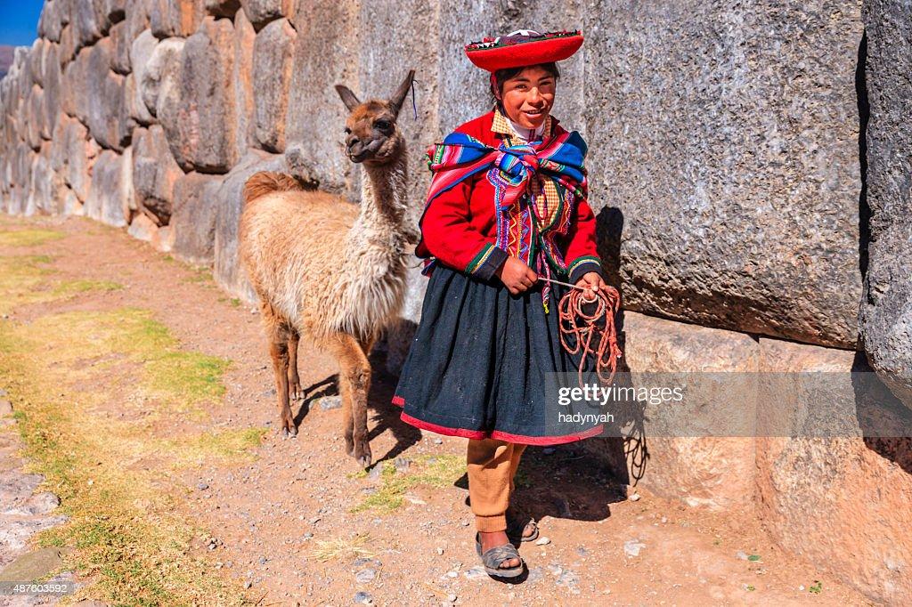 national clothing peruvian girl wearing national clothing posing with llama near
