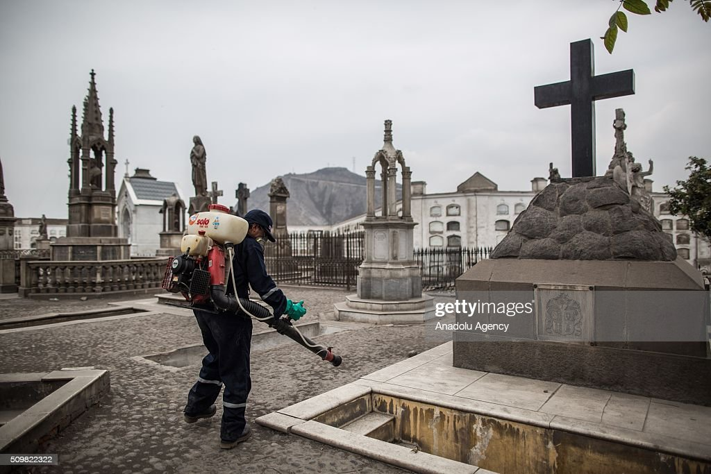 A Peruvian Health Ministry personnel fumigates the Presbitero Maestro cemetery against Zika virus in Lima, Peru on February 12, 2016.
