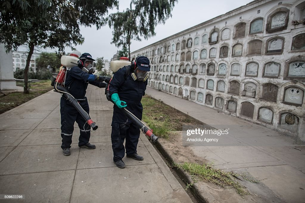 Peruvian Health Ministry personnels fumigate the Presbitero Maestro cemetery against Zika virus in Lima, Peru on February 12, 2016.