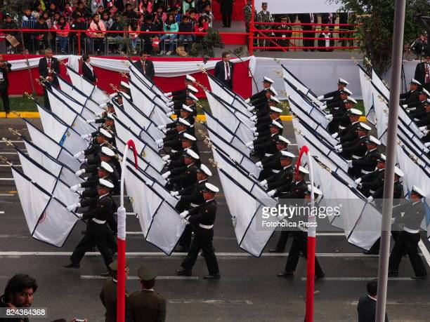 Peruvian Merchant Navy officers marching on Military parade commemorating 196th anniversary of Peruvian independence