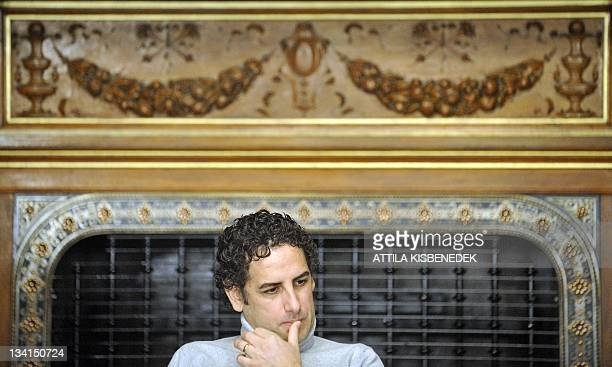Peruvian operatic tenor Juan Diego Florez listens to a question in the Bertalan Szekely hall of the National State Oper on November 28 during his...
