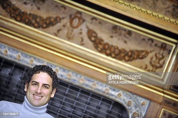 Peruvian operatic tenor Juan Diego Florez listens to a questionin Budapest in the Bertalan Szekely hall of the National State Oper on November 27...